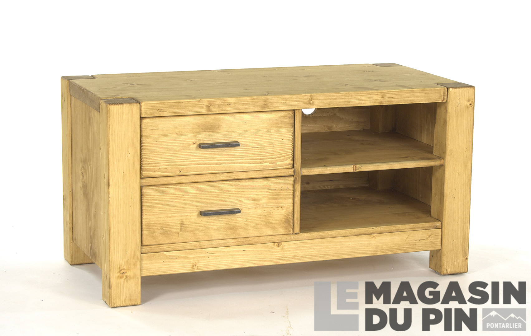 Meuble Tv 100 Cm En Pin Massif Adriana 2 Tiroirs Le Magasin Du Pin # Meuble Tv En Pin