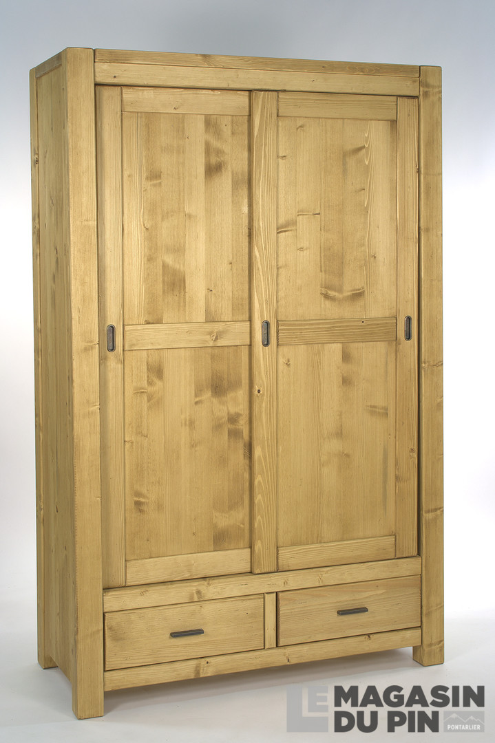 armoire en pin massif adriana 2 portes coulissantes le magasin du. Black Bedroom Furniture Sets. Home Design Ideas
