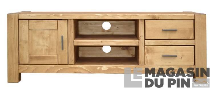 meuble tv 140 cm en pin massif adriana 1 porte 2 tiroirs le magasin. Black Bedroom Furniture Sets. Home Design Ideas