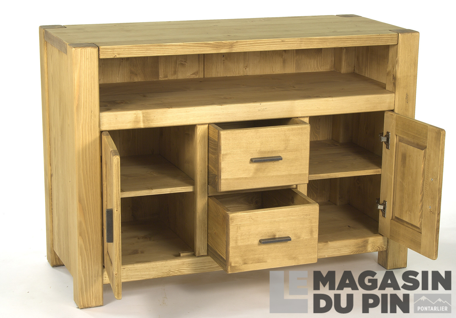 Meuble tv haut en pin massif adriana le magasin du pin for Meuble tv 70 cm de haut