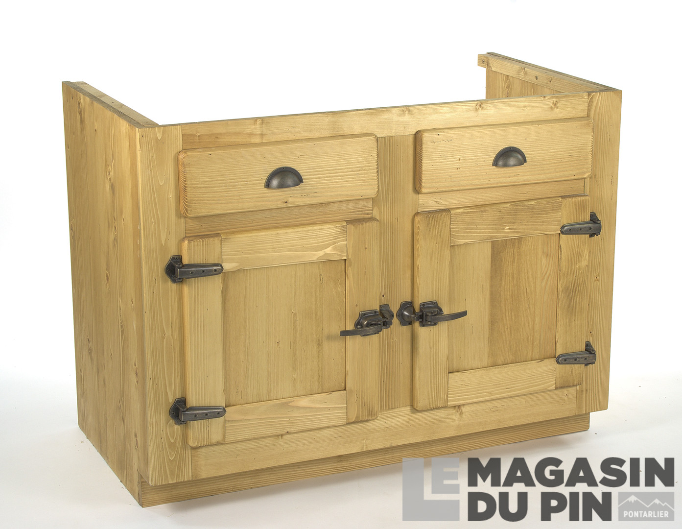 meuble sous vier 2 portes pin massif pour cuisine avoriaz le magasin. Black Bedroom Furniture Sets. Home Design Ideas