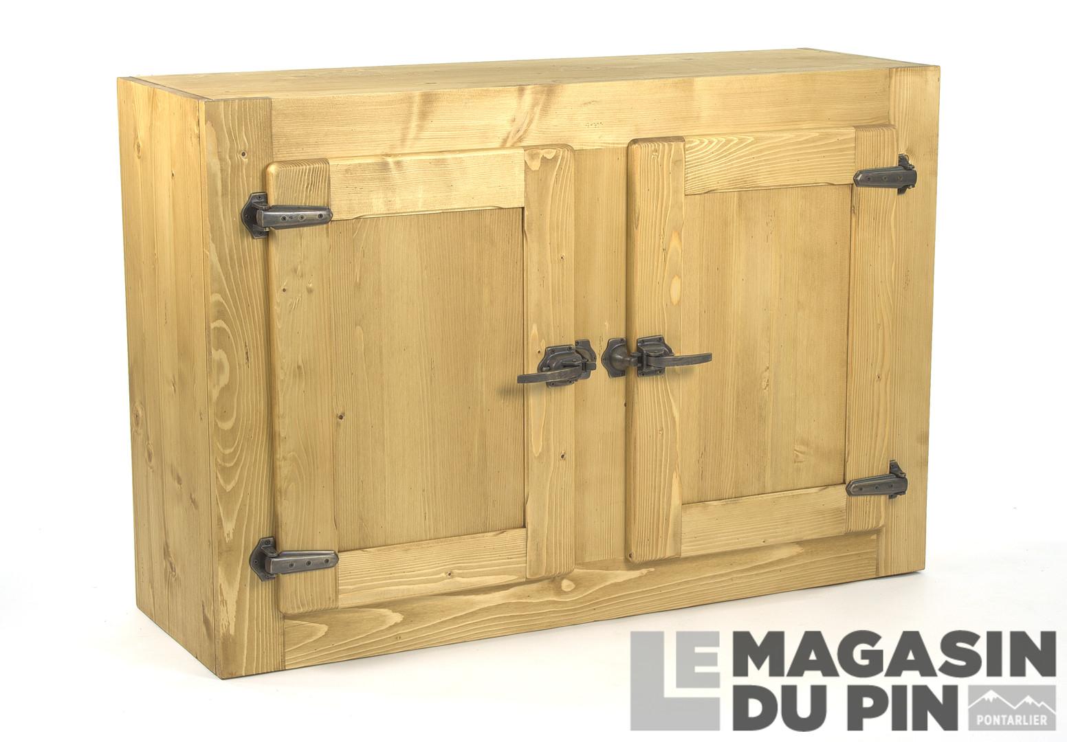 Meuble haut 2 portes pin massif pour cuisine avoriaz le for Meuble haut cuisine pin massif