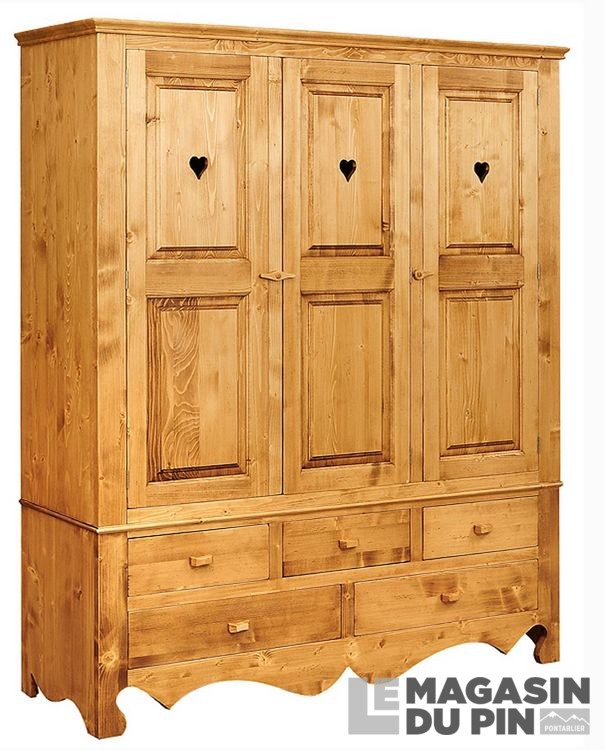 armoire en pin massif 3 portes 3 tiroirs chamonix le. Black Bedroom Furniture Sets. Home Design Ideas