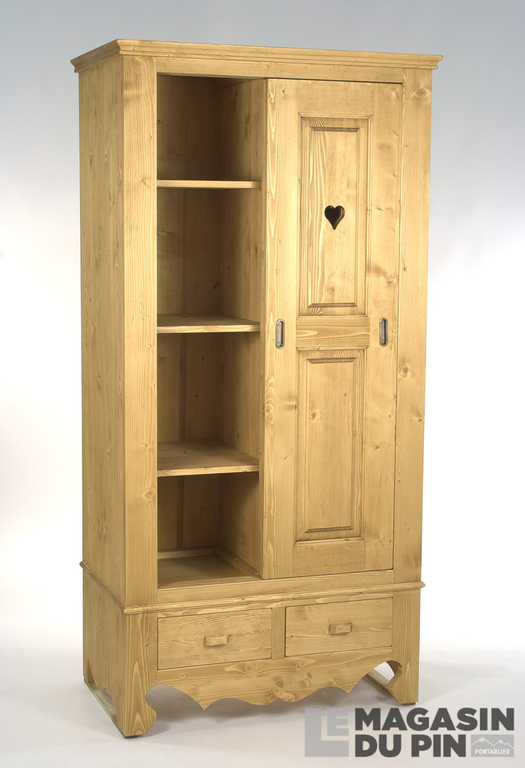 armoire en pin massif 2 portes coulissantes chamonix le magasin du. Black Bedroom Furniture Sets. Home Design Ideas