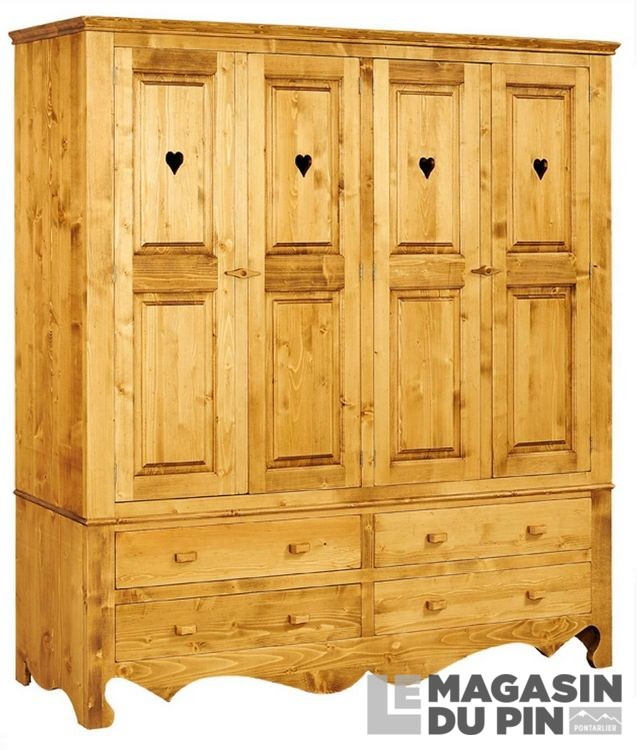 armoire avec coeurs en pin massif chamonix le magasin du pin. Black Bedroom Furniture Sets. Home Design Ideas