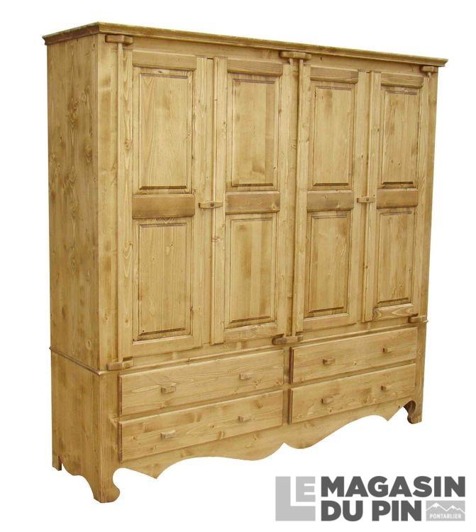 armoire 4 portes charni res bois pin massif chamonix le magasin du. Black Bedroom Furniture Sets. Home Design Ideas
