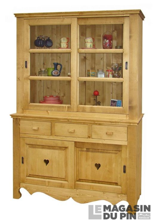 meuble 2 corps pin massif vitr chamonix le magasin du pin. Black Bedroom Furniture Sets. Home Design Ideas