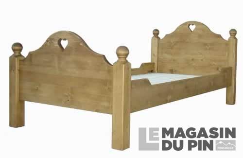 lit pin massif 90x190 cm chamonix dessin c160 le magasin du pin. Black Bedroom Furniture Sets. Home Design Ideas