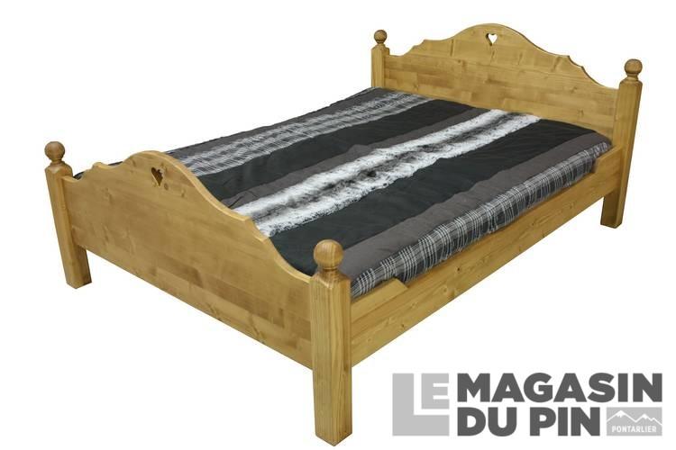 lit pin massif 140x190 cm chamonix dessin c160 le magasin du pin. Black Bedroom Furniture Sets. Home Design Ideas
