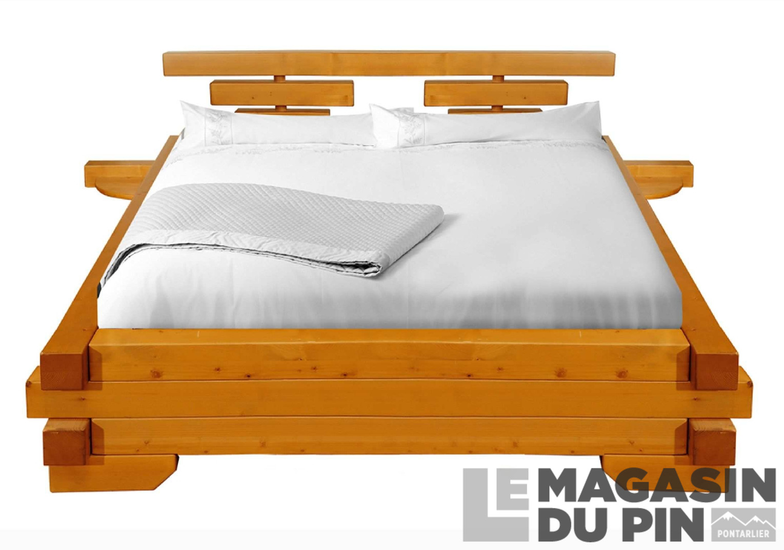 lit poutre 180x200 cm en pin massif chamonix le magasin du pin. Black Bedroom Furniture Sets. Home Design Ideas