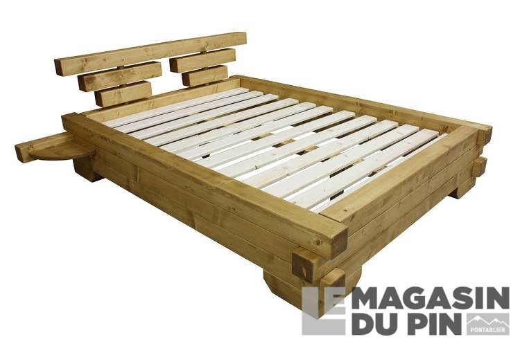 lit poutre 160x200 cm en pin massif chamonix le magasin du pin. Black Bedroom Furniture Sets. Home Design Ideas