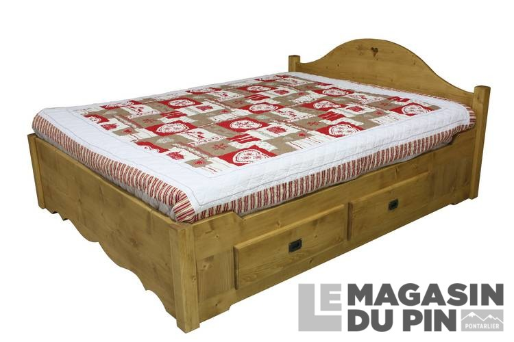 lit double 160x200 avec tiroirs en pin massif chamonix le magasin. Black Bedroom Furniture Sets. Home Design Ideas