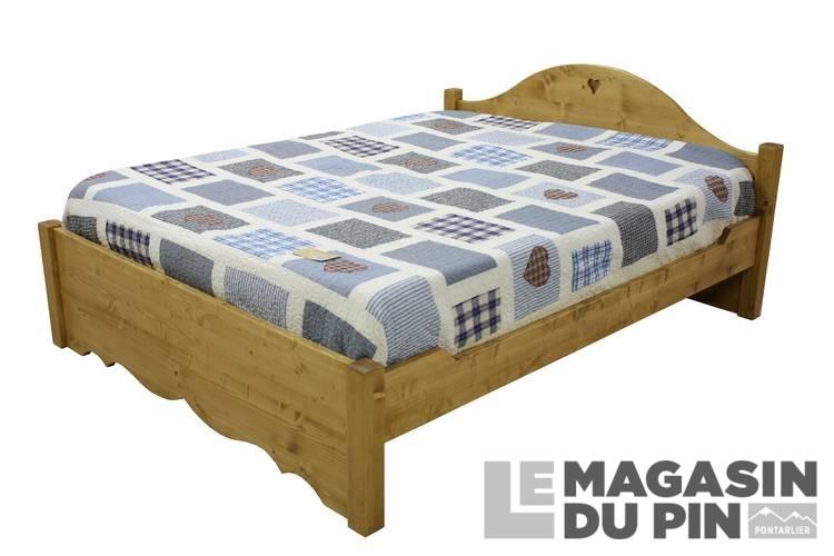 lit double 140x190 sans tiroirs en pin massif chamonix le. Black Bedroom Furniture Sets. Home Design Ideas