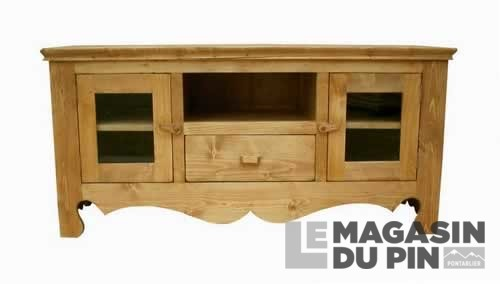 meuble tv en pin massif chamonix 2 portes vitr es 1 tiroir 1 niche. Black Bedroom Furniture Sets. Home Design Ideas
