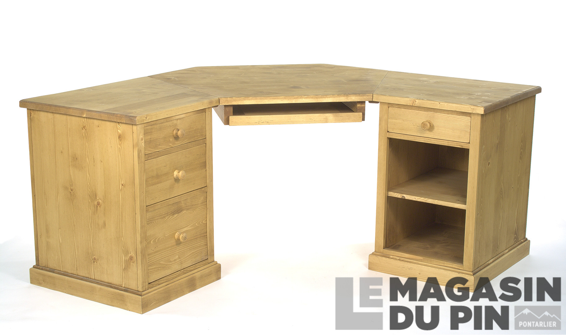 bureau d 39 angle en pin massif chamonix le magasin du pin. Black Bedroom Furniture Sets. Home Design Ideas