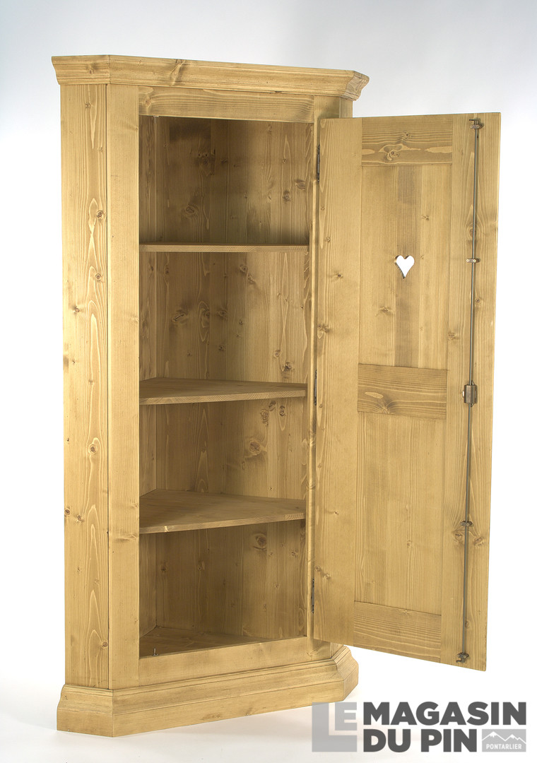 bonneti re d 39 angle 1 porte en pin massif chamonix le magasin du pin. Black Bedroom Furniture Sets. Home Design Ideas