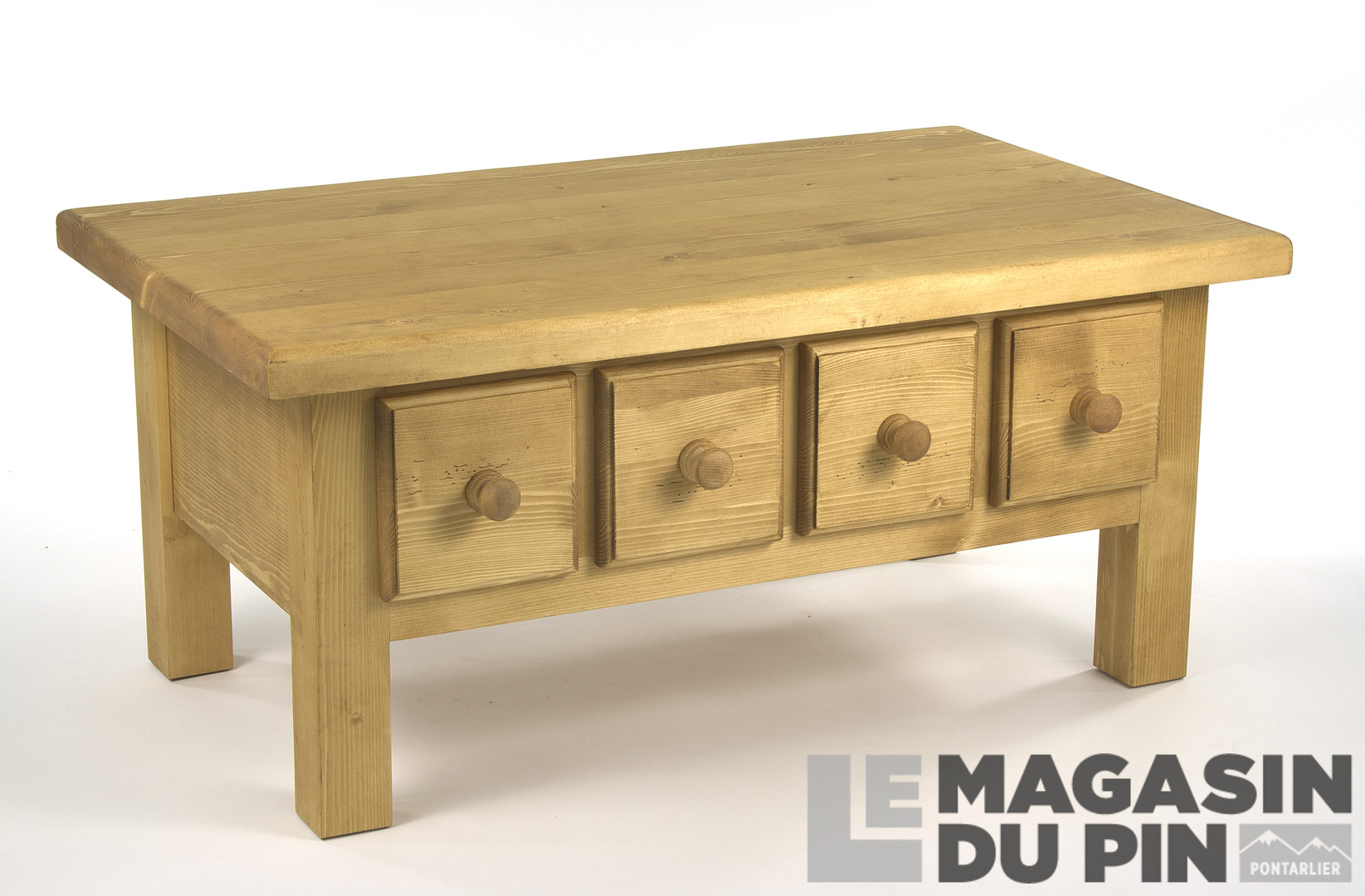 table basse en pin massif chamonix 4 tiroirs le magasin du pin. Black Bedroom Furniture Sets. Home Design Ideas