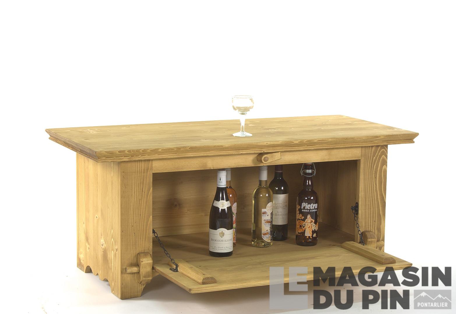 Table basse bar en pin massif chamonix 1 porte rabattable - Table bar rabattable ...