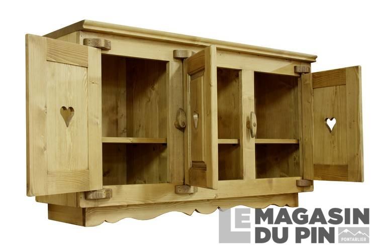 Meuble haut 3 portes cuisine chamonix en pin massif le for Meuble haut cuisine pin massif