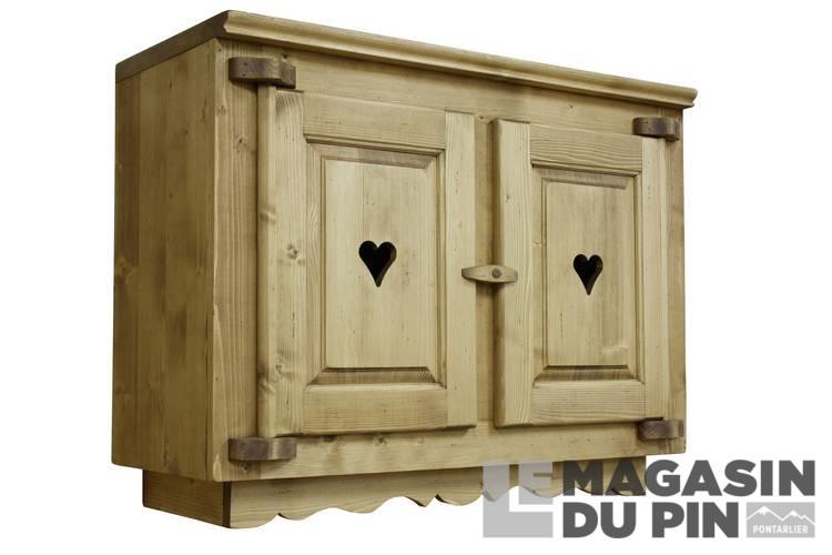 meuble haut 2 portes cuisine chamonix en pin massif le