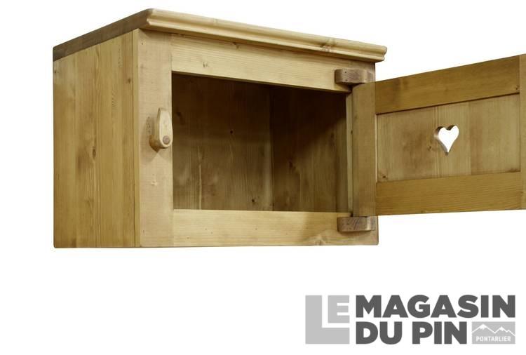Meuble haut sur hotte cuisine chamonix en pin massif le for Meuble haut cuisine pin massif