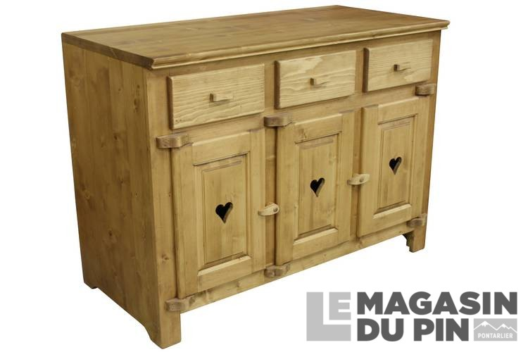 meuble bas 3 portes cuisine chamonix en pin massif le magasin du pin. Black Bedroom Furniture Sets. Home Design Ideas