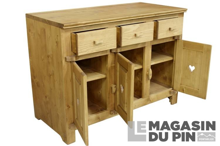 Meuble Bas 3 Portes : meuble bas 3 portes cuisine chamonix en pin massif le magasin du pin ~ Teatrodelosmanantiales.com Idées de Décoration