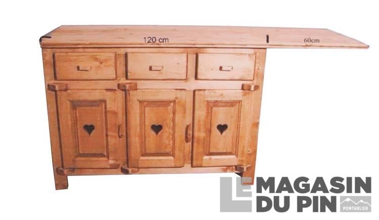 Meuble bas sous vier 3 portes cuisine chamonix en pin for Meuble sous evier cuisine bois massif