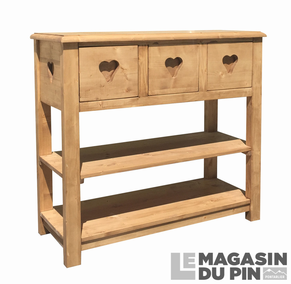 console pin massif 3 tiroirs 1 tag re c urs le magasin du pin. Black Bedroom Furniture Sets. Home Design Ideas