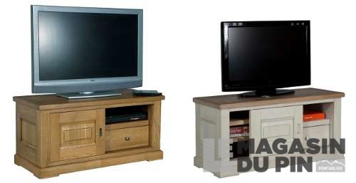 meuble tv ch ne massif 110 cm sur roulettes loire le. Black Bedroom Furniture Sets. Home Design Ideas