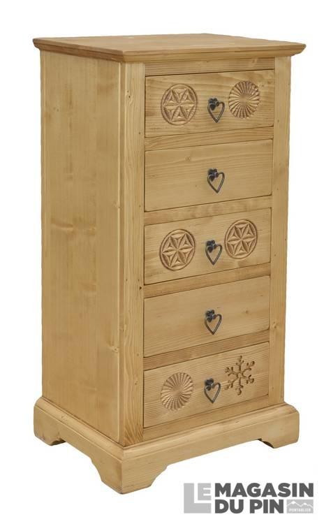 chiffonnier meuble chalet en pin massif scupltures montagne le magasin. Black Bedroom Furniture Sets. Home Design Ideas