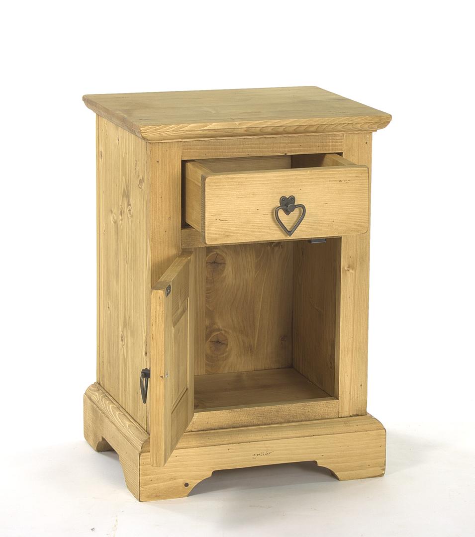 chevet meuble chalet en pin massif ouverture gauche sculpture montagne. Black Bedroom Furniture Sets. Home Design Ideas