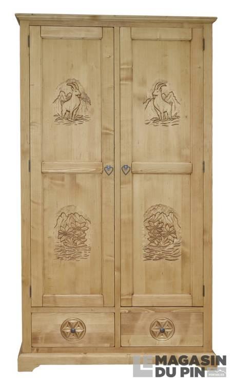 armoire 2p 2t meuble chalet pin massif sculptures montagne. Black Bedroom Furniture Sets. Home Design Ideas