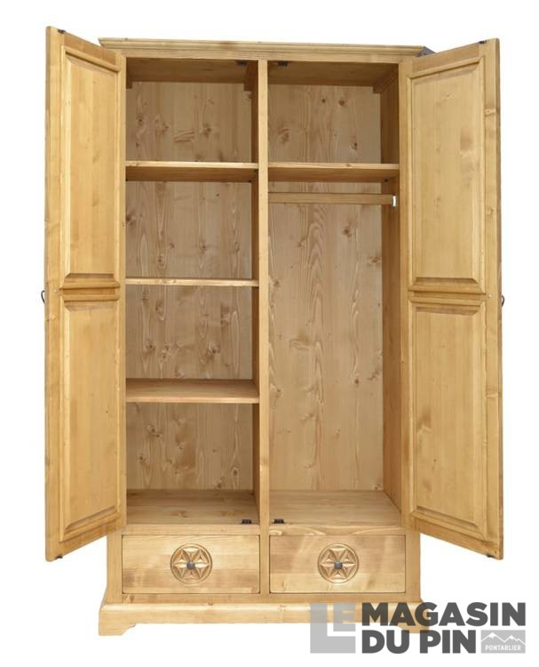armoire 2p 2t meuble chalet pin massif sculptures montagne le magasin. Black Bedroom Furniture Sets. Home Design Ideas