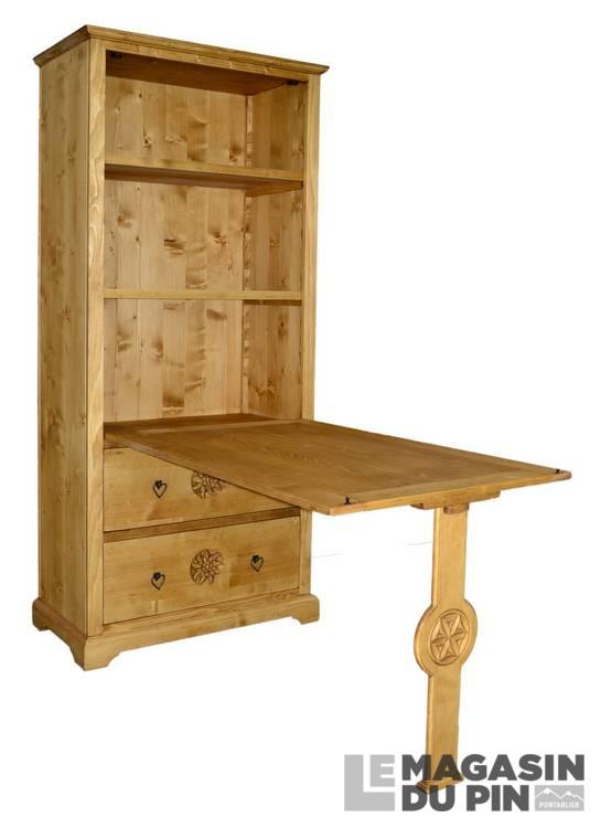 Table de berger meuble chalet en pin massif sculptures for Table de chalet