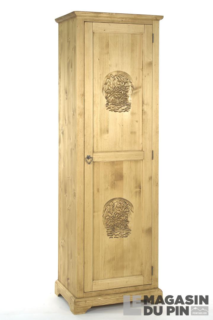 bonneti re en pin massif 1 porte meuble chalet sculpture montagne. Black Bedroom Furniture Sets. Home Design Ideas