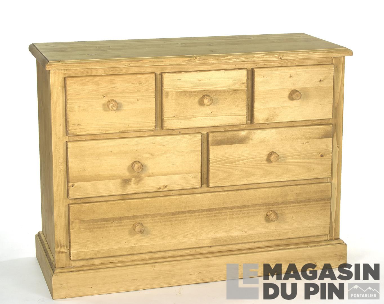 commode en pin massif 6 tiroirs le magasin du pin. Black Bedroom Furniture Sets. Home Design Ideas