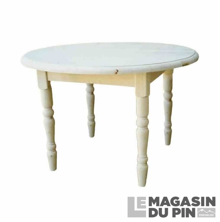 table ronde pin massif 110 cm pieds tourn s transilvania le magasin. Black Bedroom Furniture Sets. Home Design Ideas