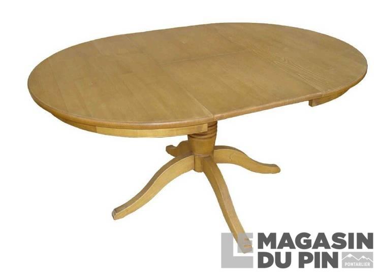 table ronde 1 allonge en pin massif transilvania le magasin du pin. Black Bedroom Furniture Sets. Home Design Ideas