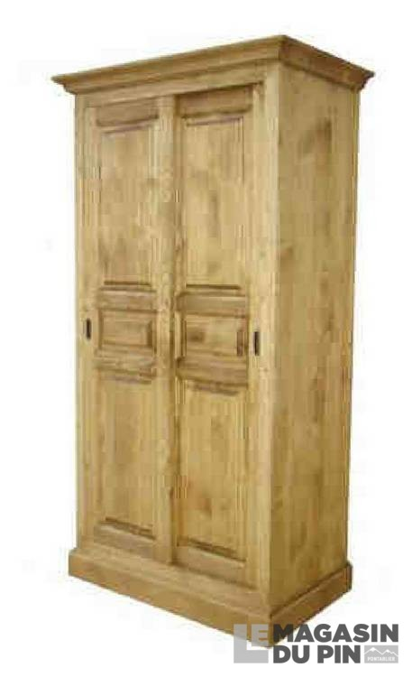 Armoire pin massif 2 portes coulissantes transilvania le - Armoire pin massif porte coulissante ...