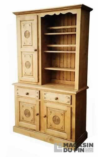 meuble 2 corps pin massif rh ne alpes rosaces le magasin du pin. Black Bedroom Furniture Sets. Home Design Ideas