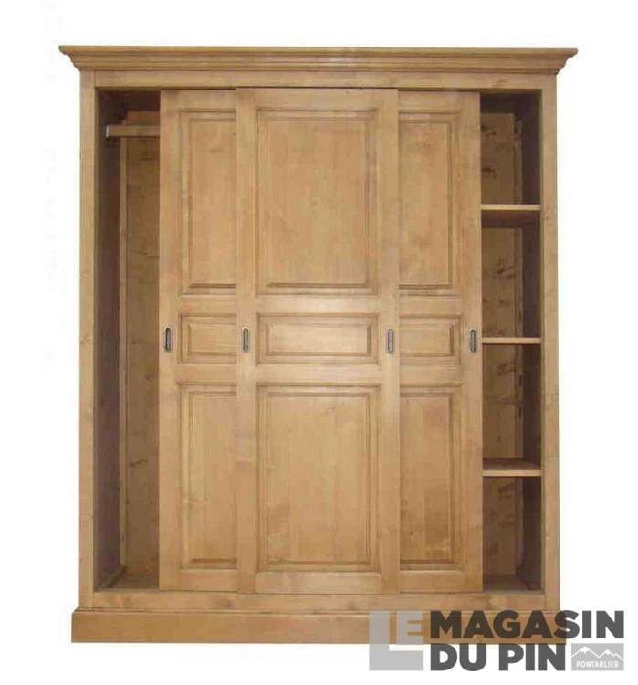 Armoire pin massif 3 portes coulissantes transilvania le - Armoire pin massif porte coulissante ...