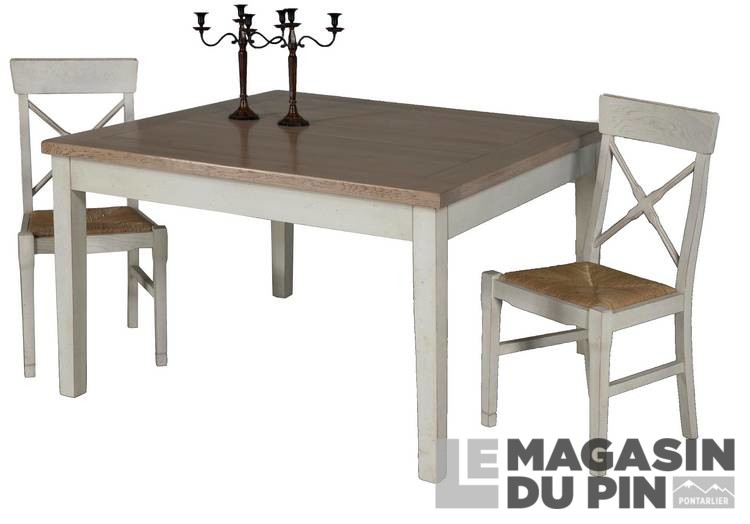 Table repas carr e ch ne massif 130 cm loire le magasin du pin for Table khi carre