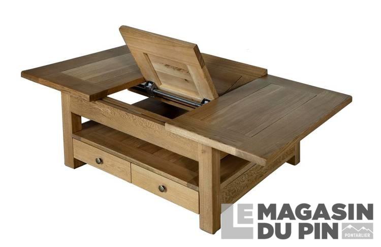 Table Basse Carree Chene Massif Allonge Le Magasin Du Pin