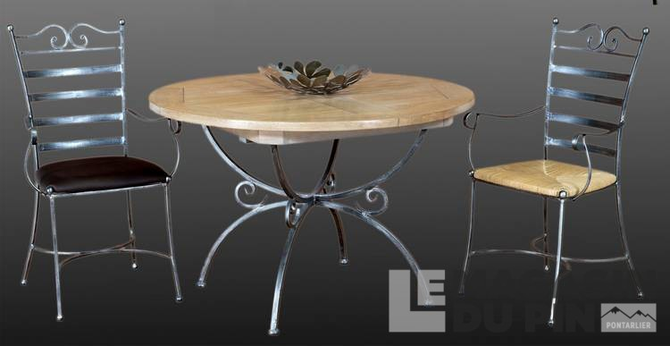Table ronde plateau ch ne pi tement fer forg le magasin du pin - Table fer forge plateau bois ...