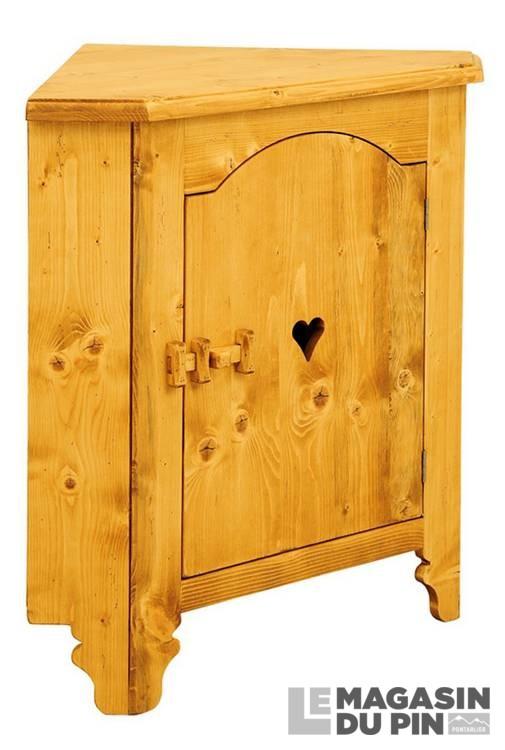 bahut d 39 angle 1 porte motif c ur en pin massif tradition le magasin. Black Bedroom Furniture Sets. Home Design Ideas