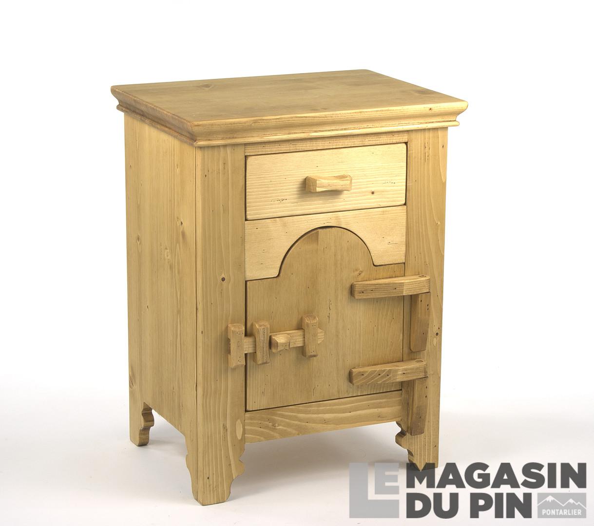 chevet droit 1 porte charni res bois en pin massif. Black Bedroom Furniture Sets. Home Design Ideas