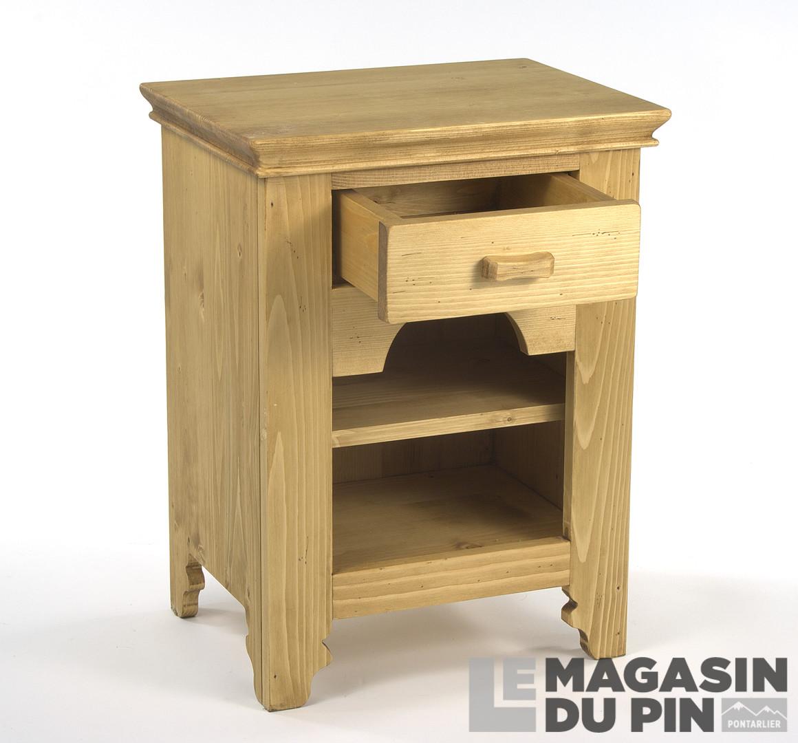 chevet 1 tiroir 1 niche en pin massif tradition le magasin du pin. Black Bedroom Furniture Sets. Home Design Ideas