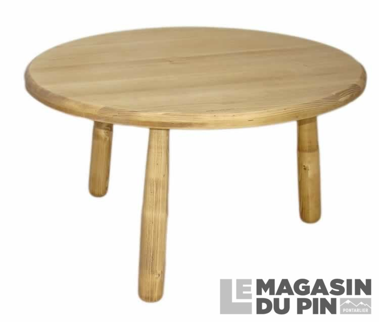 Table basse ronde diam tre 80 cm en pin massif tradition - Table ronde 80 cm ...