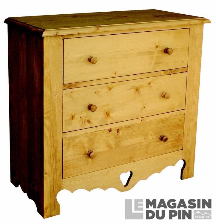 Commode 3 tiroirs en pin massif le magasin du pin - Commode en pin massif ...